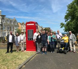 Unveiling of interpretation panel in Dalby Square gardens.