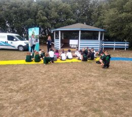 Palm Bay pupils listening to a talk about litter