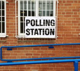 Stock image of polling station