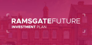 Purple/pink image with faint buildings in the background. White text saying Ramsgate Future Investment Plan in the centre.