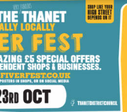 Ticket image in blue with yellow writing detailing fiver fest.
